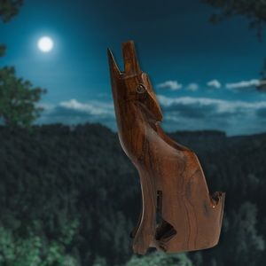 Howling Wolf / Coyote Solid Wood Carved Figurine